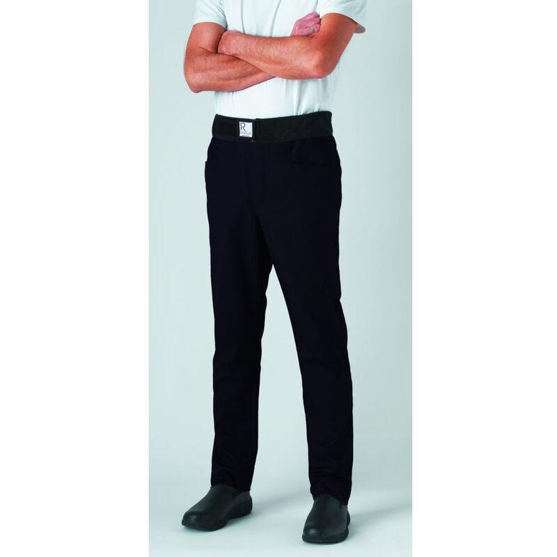 Pantalon de cuisine mixte slim ceinture éponge Archet Noir XL - Robur