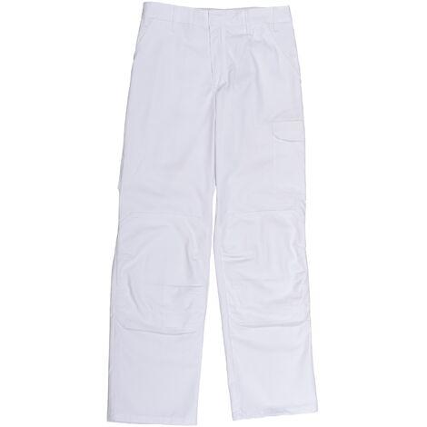 Pantalon de peintre blanc - Ceinture réglable et poches genouillère - Homme