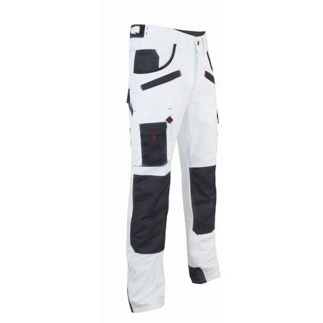 Pantalon de peintre multipoches à genouillères Blanc/Noir   1443 AEROSOL - LMA