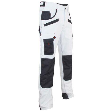 Pantalon de peintre multipoches à genouillères Blanc/Noir | 1443 AEROSOL - LMA