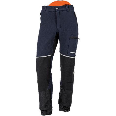 Pantalon de protection anti-coupures Stretch Elch 2.0 de KOX, bleu foncé/orange