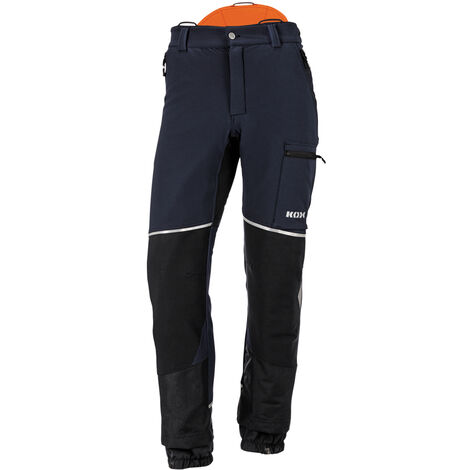 Pantalon de protection anti-coupures Stretch Elch 2.0 de KOX, bleu foncé/orange