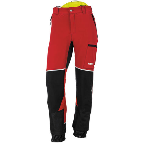 Pantalon de protection anti-coupures Stretch Elch 2.0 de KOX, rouge/jaune