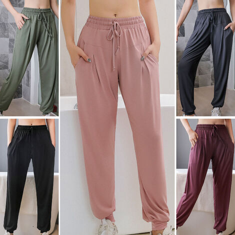Pantalon De Sport Decontracte Pour Femme, Poches Laterales Elastiques, Pantalon De Fitness A Sechage Rapide, Violet Fonce, Taille L