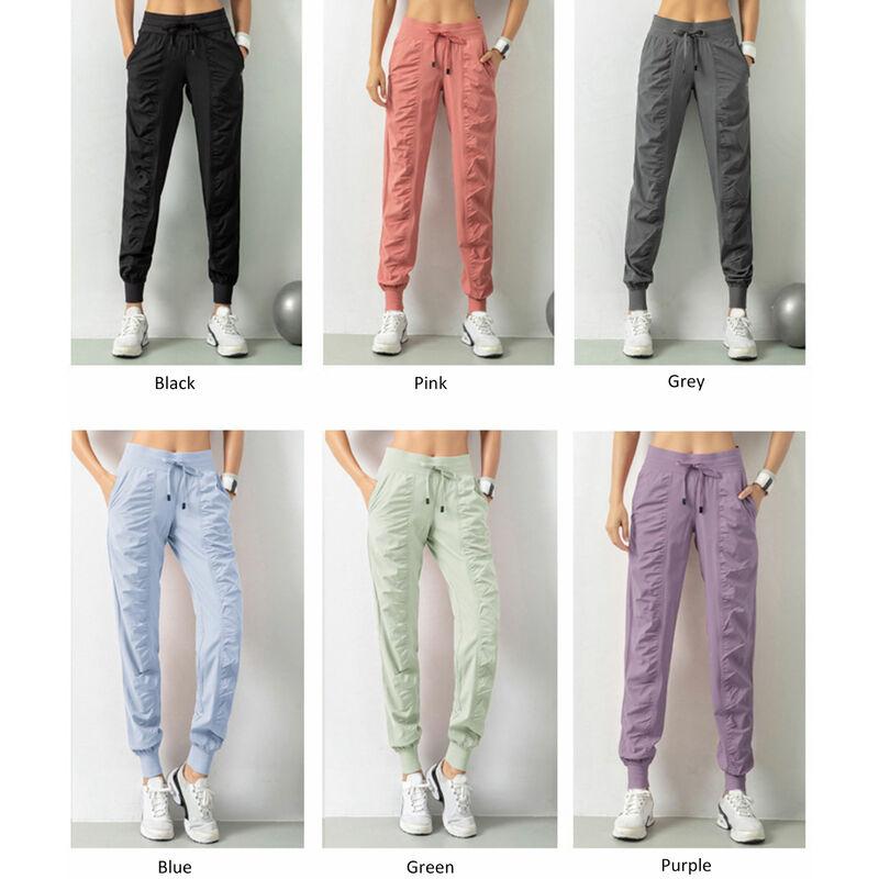 Asupermall - Pantalon De Sport Pour Femme, Design Avec Cordon De Serrage, Double Poches Laterales, Pantalon Decontracte, Gris, Taille M