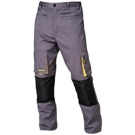 "main image of ""Pantalones largos detrabajo, multibolsillos, resistentes, rodilla reforzada, gris/amarillo talla 58/60 xxxl"""