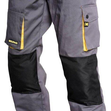 Pantalon de trabajo gris/amarillo largo talla 58/60 xxxl