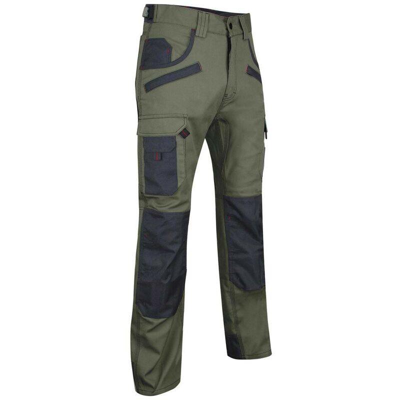 Pantalon de travail bicolore avec poches genouilléres LMA Secateur Kaki / Gris 60
