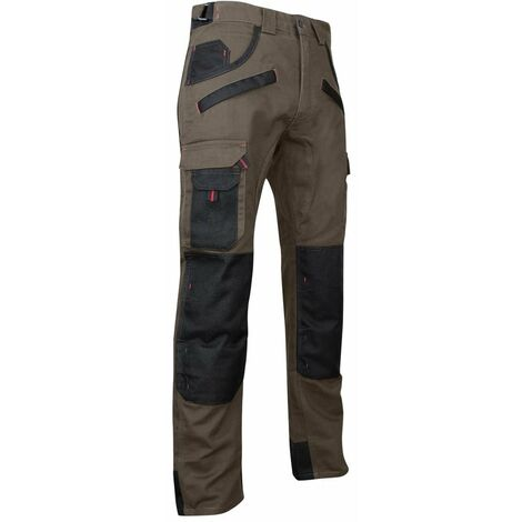 Pantalon de travail bicolore avec poches genouillères TOURBE LMA Taupe / Noir 52