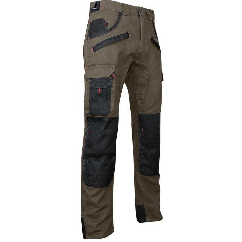 Pantalon de travail bicolore avec poches genouillères TOURBE Taupe / Noir 60 - LMA