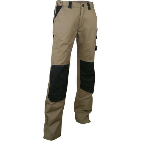 Pantalon de Travail Bicolore multipoches beige/Noir avec poches genouillères
