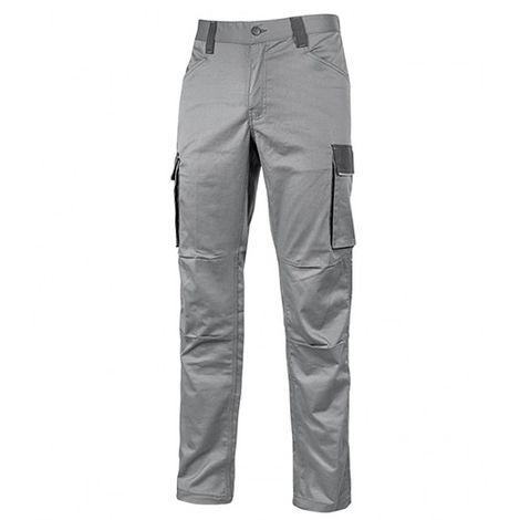 Pantalon de travail cargo en TC stretch avec deux grandes poches latérales multifonction - CRAZY Stone Grey - HY141SG - U-Power