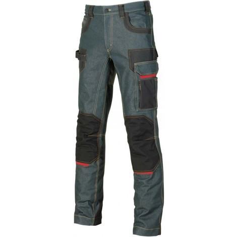 Pantalon de travail en jean stretch avec inserts en Cordura - PLATINUM BUTTON Rust Jeans - EX069RJ - U-Power