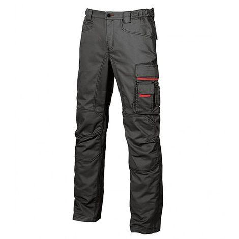 Pantalon de travail en toile coton élastiquée coupe Slim Fit - SMILE Black Carbon - HY015BC - U-Power - Noir - 42 - taille: 42