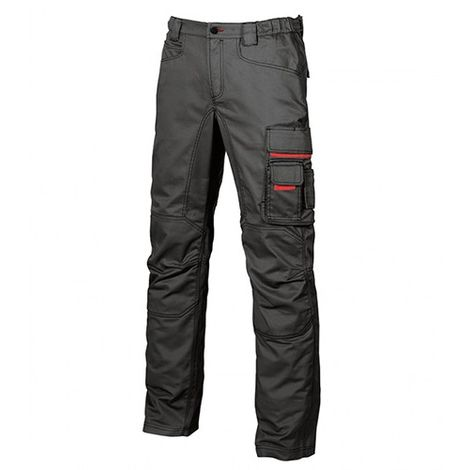 Pantalon de travail en toile coton élastiquée coupe Slim Fit - SMILE Black Carbon - HY015BC - U-Power - taille: 48 - couleur: Noir