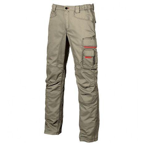 Pantalon de travail en toile coton élastiquée coupe Slim Fit - SMILE Desert Sand - HY015DS - U-Power