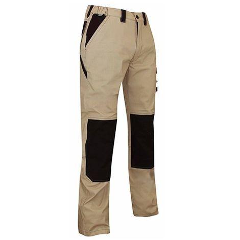 Pantalon de travail Ripstop bicolore 185 Gr - Gamme été - PLUTON - BEIGE-NOIR - 1454 - LMA Lebeurre - taille: 54