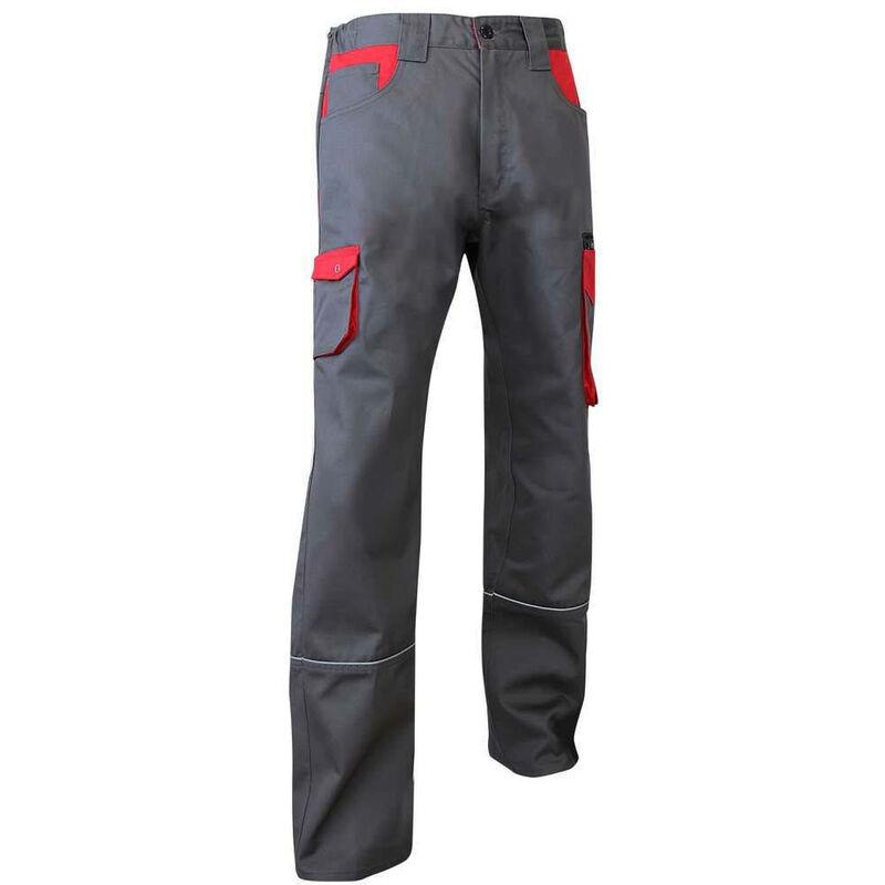 Pantalon de travail Multi Poches LMA Lin Gris / Rouge 60