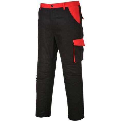 Pantalon de travail Multi Poches Portwest Texo Poznan Noir / Rouge