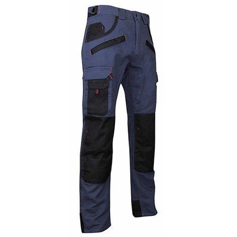 Pantalon de travail multipoches à genouillères Bleu foncé/Noir | 1559 BRIQUET - LMA