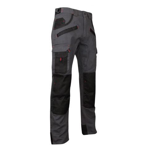 Pantalon de travail multipoches à genouillères Gris/Noir   1261 ARGILE - LMA   56