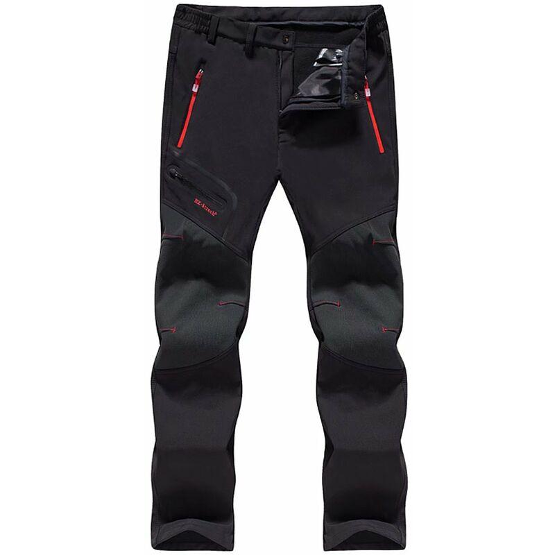 Perle rare Pantalon de travail Pantalon en polaire d'extérieur Pantalon de ski imperméable unisexe à coque souple et pantalon en cachemire 6XL
