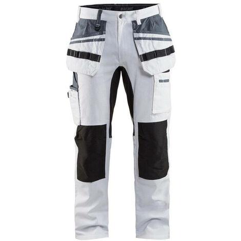 Pantalon de travail peintre Blaklader 100% coton Stretch Blanc / Noir