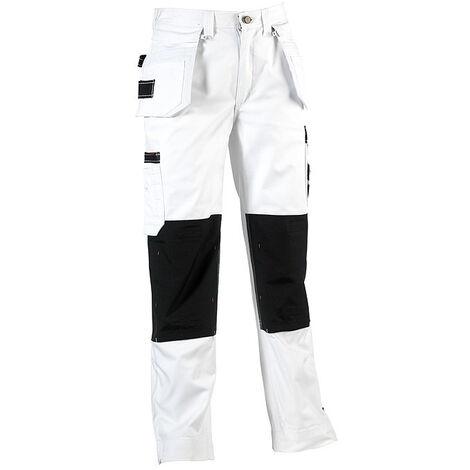 Pantalon de travail peintre blanc tres resistant triple coutures déperlant HEROCK