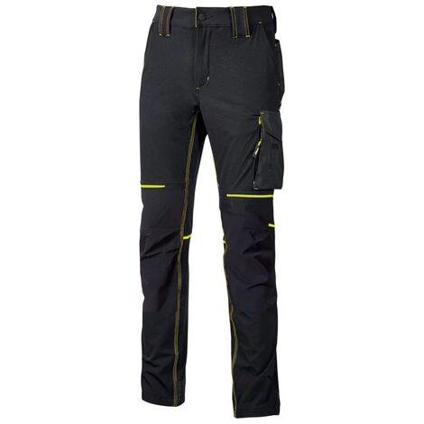 Pantalon de travail Slim Noir Carbone/Jaune WORLD | FU189BC - U-Power
