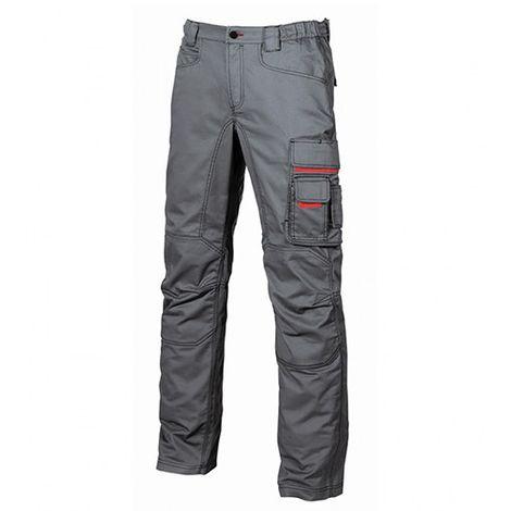 Pantalon de travail toile coton élastiquée Slim Fit - SMILE Grey Meteorite - HY015GM - U-Power - Gris foncé - 54 - taille: 54