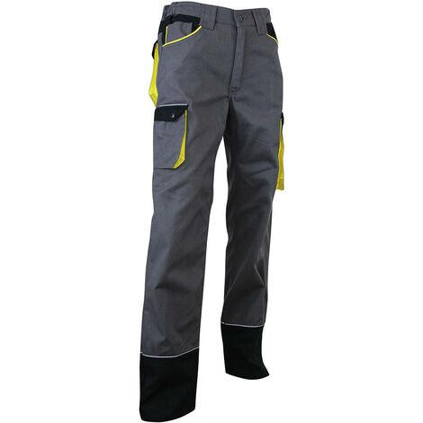 Pantalon de travail tricolore zéro métal rétro-réfléchissant - Gamme Dynamics - SECHOIR - GRIS-NOIR-JAUNE - 1258 - LMA Lebeurre