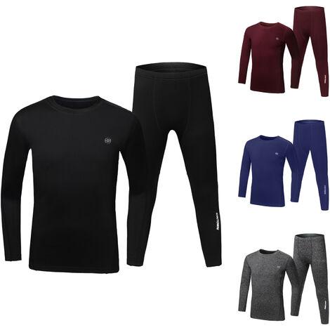 Pantalon de veste de sous-vetements thermiques epaississant automne et hiver pour enfants combinaison thermique taille asiatique bleu fonce 140