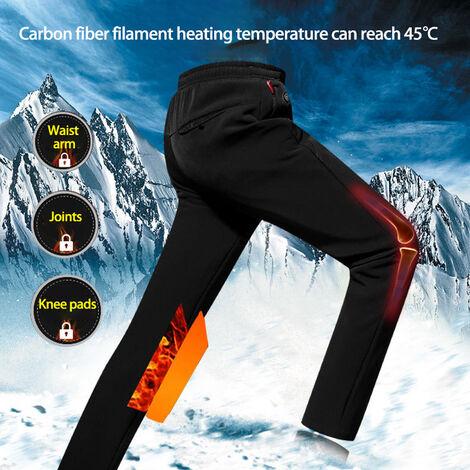 Pantalon en coton chauffant intelligent Pantalon homme hiver plus cachemire USB chargement noir 8XL