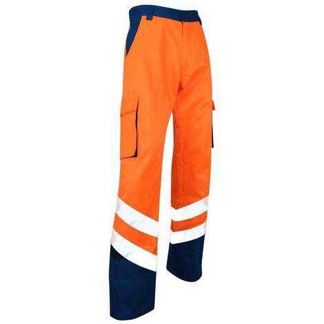Pantalon Haute Visibilité orange / bleu nuit sans métal Balise LMA - plusieurs modèles disponibles
