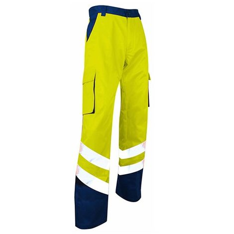 Pantalon haute visibilite zeo metal jaune fluo/bleu nuit Protection LMA - plusieurs modèles disponibles