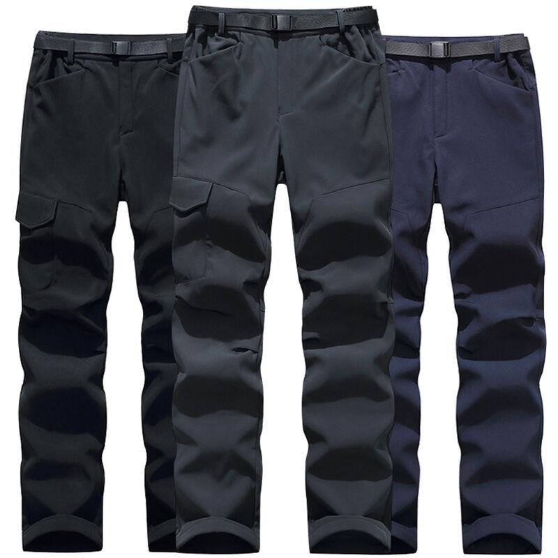 Asupermall - Pantalon Impermeable D'Hiver, Pantalon D'Exterieur Multi-Poches Epais Chaud Et Coupe-Vent, Noir, Taille 2Xl