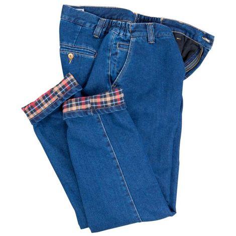 Pantalon jeans chaud, couleur bleue, doublure en flanelle - Taille 58