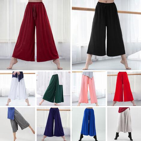 Pantalon Large Femme Ceinture Elastique, Noir Taille L