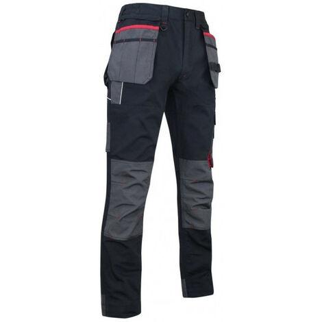 Pantalon Minerai noir rouge tissu canvas avec poches genouillères + renforts oxford 600D imperméable LMA - plusieurs modèles disponibles