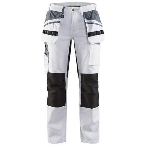 Gris Jeans pour Femmes Tissu Stretch Pantalon de Jogging Bicolore Boutons