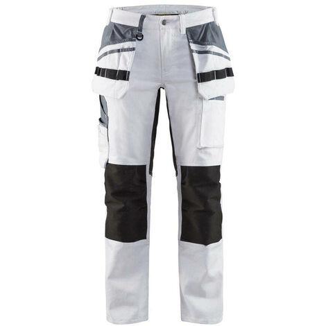 Pantalon peintre stretch femme - 1099 Blanc/Noir - Blaklader