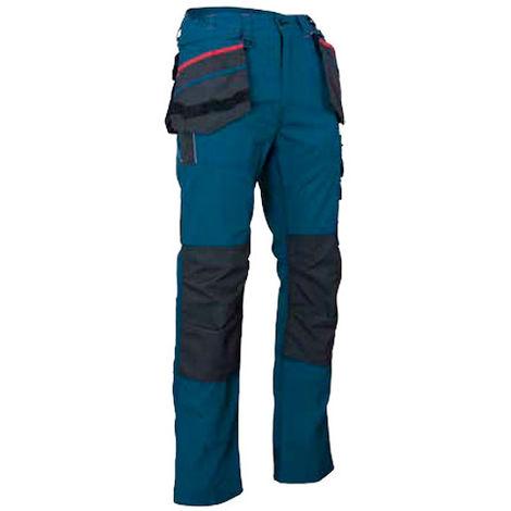 Pantalon tissu canvas avec poches genouillères et renforts imperméables - CREUSET - Cobalt