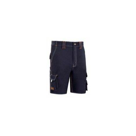 Pantalon Trabajo T40 Corto Algodon Azul Marino Stretch Triple Costura