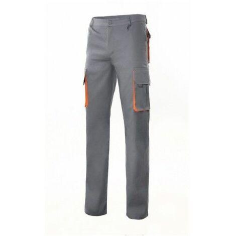 "main image of ""Pantalon Trabajo T50 Con Pinza Tergal Gris/Naranja Velilla"""