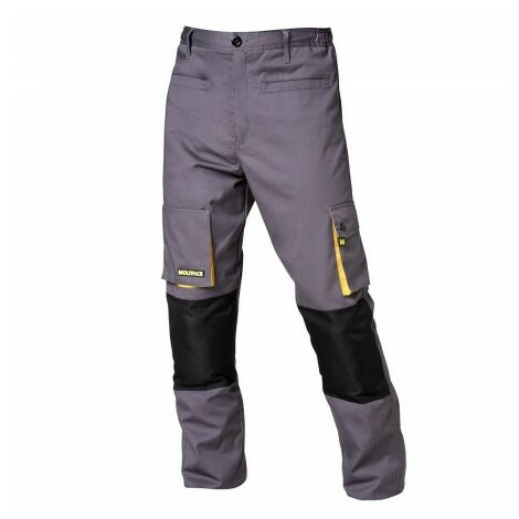 Pantalones largos detrabajo, multibolsillos, resistentes, rodilla reforzada, gris/amarillo talla 42/44 m