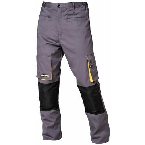 "main image of ""Pantalones Largos DeTrabajo, Multibolsillos, Resistentes, Rodilla Reforzada, Gris/Amarillo Talla 46/48 L"""