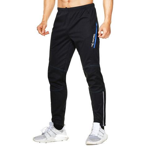 Pantalons de cyclisme chauds et impermeables pour hommes en polaire thermique coupe-vent hiver velo equitation pantalons de sport en cours d'execution, modele: bleu XXL