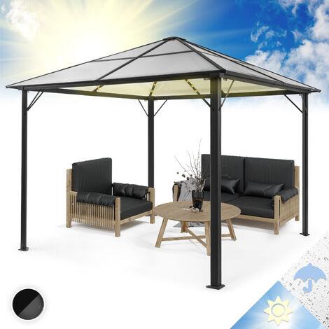 Panteón Cielo Sólido Pabellón Solar Ambiental con Techo Gris 3x3m Policarbonato Aluminio