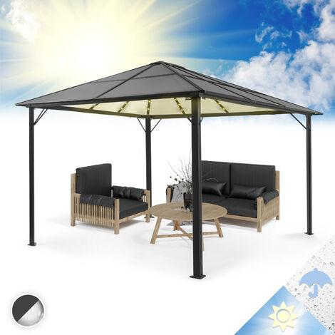 Pantheon Solid Sky Ambient Solar Pergola avec toit 3x4m polycarbonate aluminium éclairage
