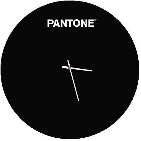 """main image of """"PANTONE Horloge Geometrique - Decoration murale, ronde - pour le salon, la cuisine, le bureau - Noir, blanc en Metal, 40 x 0,15 x 40 cm"""""""